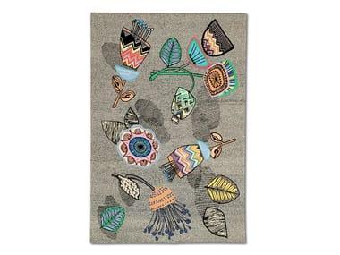 Handwoven pure wool rug with floral motif WIESBADEN