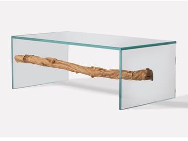 Tavolino da caffè rettangolare in legno e vetro WILDBEACH | Tavolino