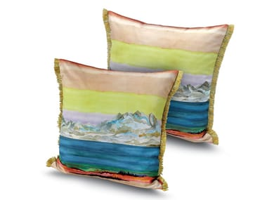Cushion in digital printed satin WIMEREUX