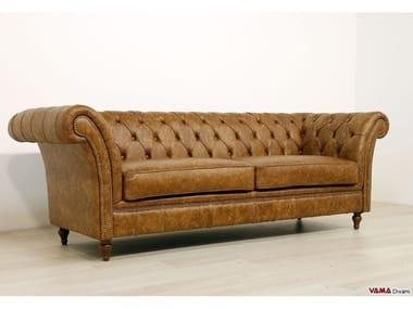 Tufted 2 seater leather sofa WINCHESTER | Leather sofa