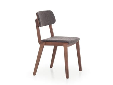 Wooden chair with integrated cushion WING 01