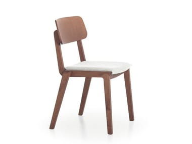 Wooden chair with integrated cushion WING 11