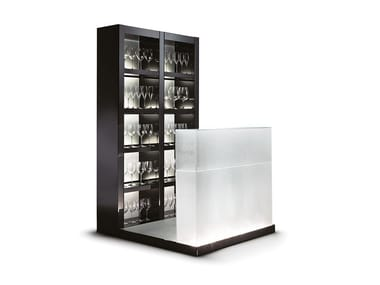 Wood and glass bar cabinet with integrated lighting AVANTGARDE | Wood and glass bar cabinet