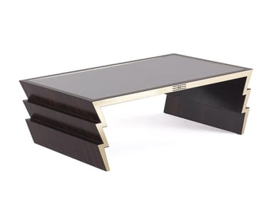 Rectangular wood and glass coffee table for living room ZIGGY | Wood and glass coffee table