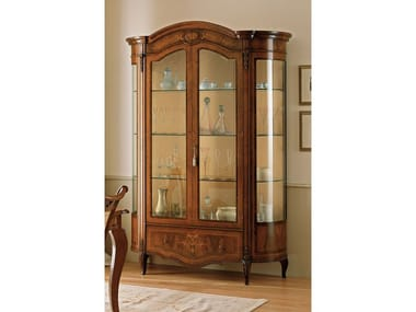 Wood and glass display cabinet REGGENZA | Wood and glass display cabinet