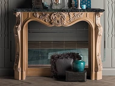 Wood and glass Fireplace Mantel CAPRICCI | Wood and glass Fireplace Mantel