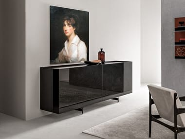 Wood and glass sideboard with sliding doors ATELIER | Wood and glass sideboard
