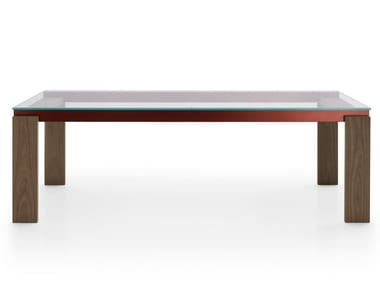 Rectangular wood and glass table PARALLEL STRUCTURE | Wood and glass table