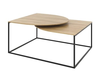 Low steel and wood coffee table with integrated magazine rack GAP | Steel and wood coffee table