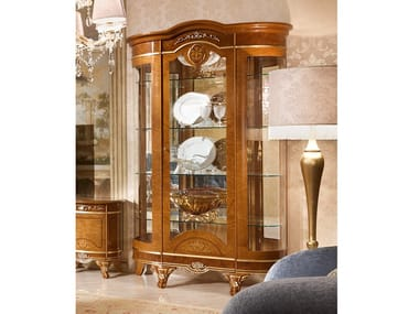 Wood veneer display cabinet DIAMANTE | Wood veneer display cabinet