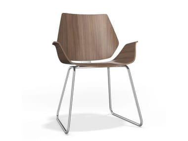 Sled base wooden chair with armrests CENTURO I | Wooden chair