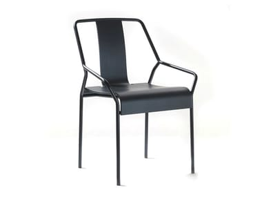 Stackable wood veneer chair with armrests DAO   Wooden chair
