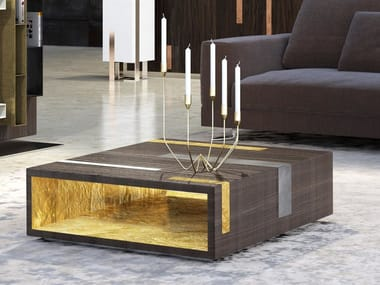 Low square wooden coffee table with integrated magazine rack MAGNIFICA | Wooden coffee table