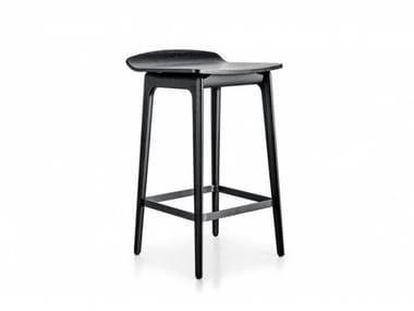 High solid wood stool with footrest WOODY | Stool