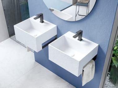 Rectangular Akron© washbasin with towel rail MINI