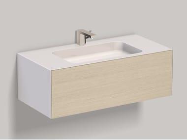 Mobile lavabo sospeso in laminato con cassetti WP.Folio3 brushed oak