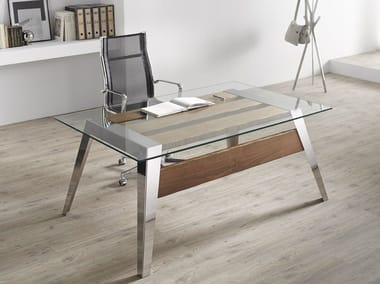 Contemporary style rectangular stainless steel writing desk NORDIC | Writing desk