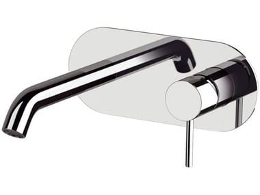 Wall-mounted single handle washbasin mixer with plate X STYLE | Wall-mounted washbasin mixer