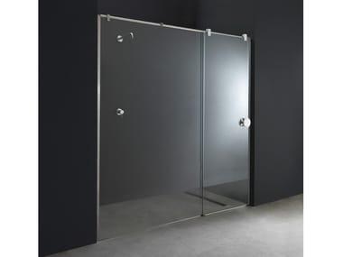 Box doccia a nicchia su misura in acciaio e vetro con porta scorrevole X13 | Box doccia a nicchia