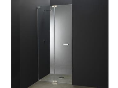 Box doccia a nicchia su misura in acciaio e vetro con porta a battente X11 | Box doccia a nicchia