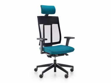 Executive chair with 5-spoke base with headrest with casters XENON NET 110STL