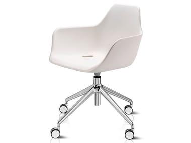 Swivel trestle-based polyethylene chair with castors Y WORK | Polyethylene chair