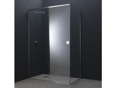 Corner glass and steel shower cabin with sliding door Y10 | Corner shower cabin