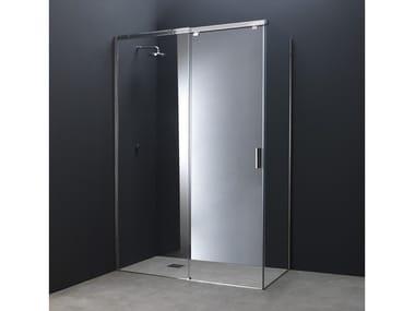 Box doccia angolare in acciaio e vetro con porta scorrevole Y12 | Box doccia angolare