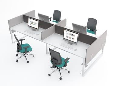 Estação de trabalho múltiplas com painéis divisores fono-absorventes YAN_Z | Estação de trabalho