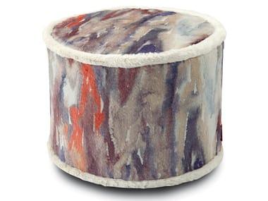 Pouf cilindro in pelliccia stampata YANGON | Pouf