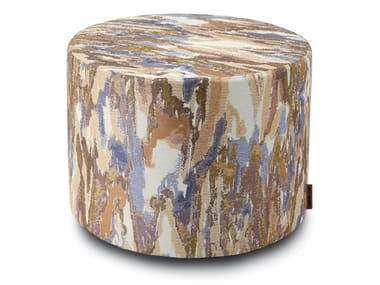 Pouf cilindro in tessuto jacquard YASOTHON | Pouf