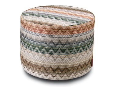 Pouf cilindro in tessuto jacquard YATE | Pouf