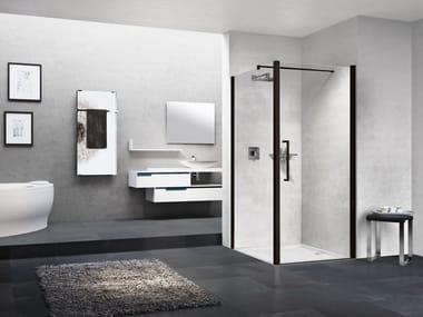 Box doccia angolare in alluminio con piatto con porta a battente YOUNG | 1B + YOUNG 2.0 F1B
