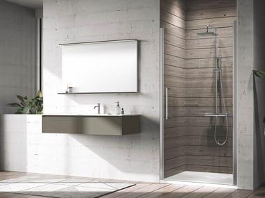 Box doccia angolare in alluminio con piatto con porta a battente YOUNG | 1B