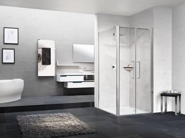 Box doccia angolare in alluminio con piatto con porta a battente YOUNG | 2B + YOUNG 2.0 F2B
