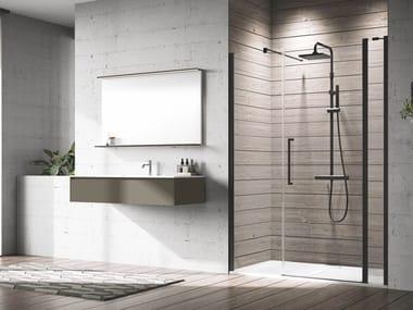 Box doccia in alluminio con piatto con porta a battente YOUNG | 2P+FL