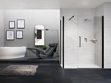 Box doccia angolare in alluminio con piatto con porta a battente YOUNG | G+F IN LINEA + YOUNG 2.0 F1B