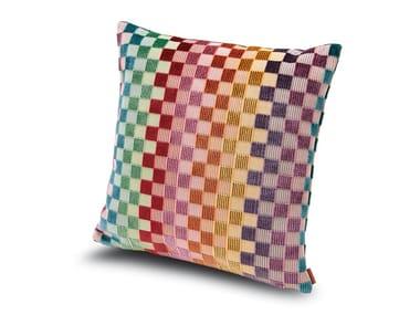 Cuscino in velluto di viscosa a micro quadretti multicolori YUGAWARA