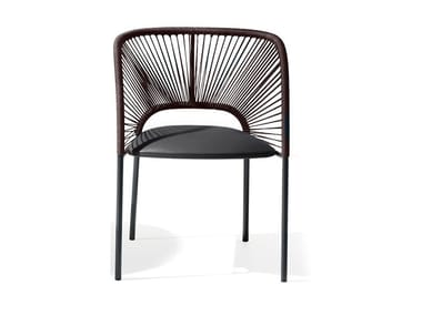 Chair with armrests and woven back YUMI | Chair