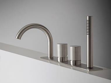 Deck mounted 4 hole stainless steel bathtub tap with hand shower Z316_SH   Deck mounted bathtub tap