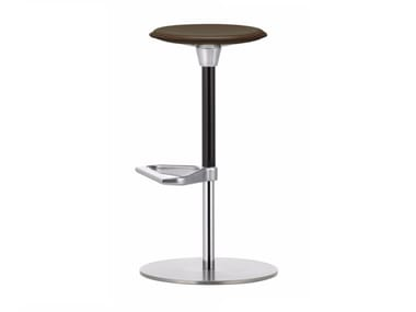 Swivel height-adjustable leather stool ZEB STOOL LEATHER