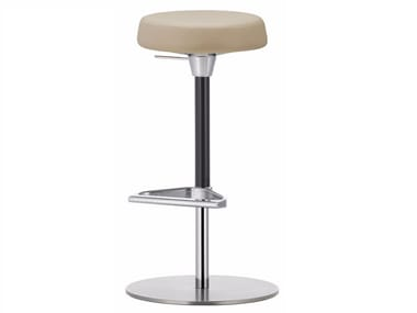 Upholstered height-adjustable stool with footrest ZEB STOOL SOFT