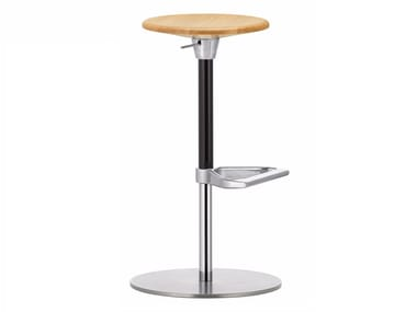 Swivel height-adjustable wooden stool ZEB STOOL WOOD