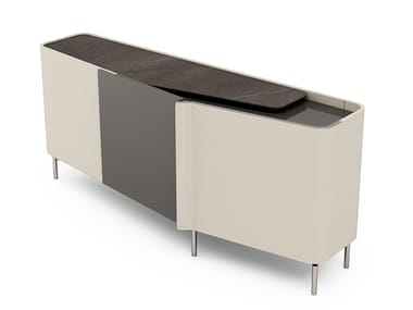 Sideboard with hinged door covered in leather ZENIT | Sideboard