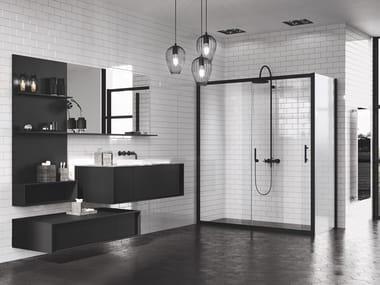 Box doccia angolare con porta scorrevole ZEPHYROS   2P + F