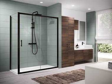 Box doccia angolare con porta scorrevole e anta fissa ZEPHYROS 2P