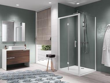 Box doccia angolare con porta a soffietto ZEPHYROS   S + F