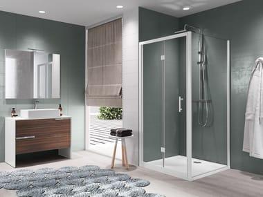 Box doccia angolare con porta a soffietto ZEPHYROS S
