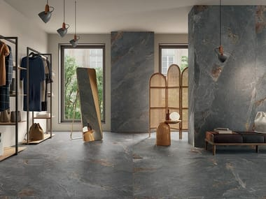 Porcelain stoneware wall/floor tiles with stone effect ZERO.3 STONE TRACE - HOLLOW