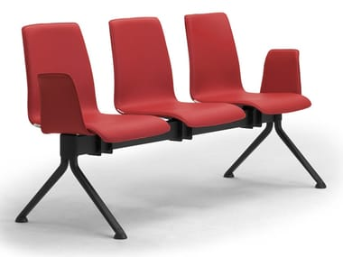 Steel and leather beam seating with armrests ZEROSEDICI | Leather beam seating